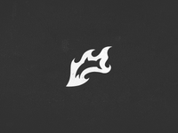 A logo with a fire and a fish.