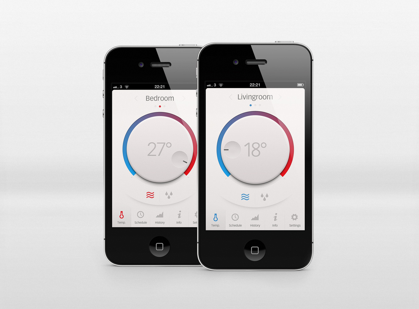 dribbble thermostat app by daniel bruce
