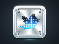 Twitter metall icon