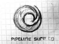 Pipeline Surf Logo Sketch