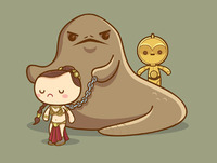 Kawaii Star Wars - Slave Leia and Jabba