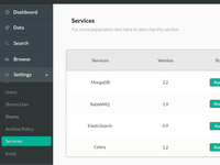 Sidebar menu for dashboard