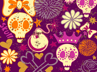 Cartoon seamless pattern with skulls
