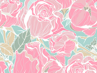 Cute seamless pattern with roses and peonies.