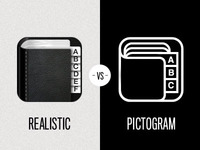 Icon - Realistic vs Pictogram