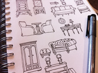 Vintage furniture sketch