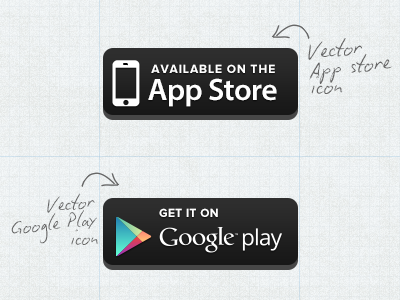 Download Free Vector App Store / Google Play Button