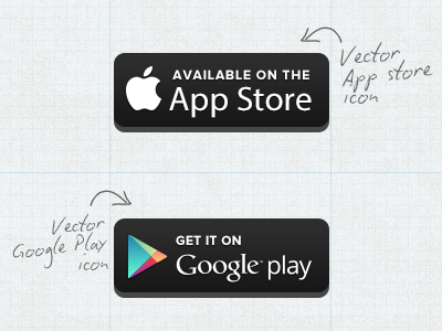 Download Free Vector Appstore/Google Play Button (Updated Version)
