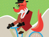 Dapper Fox On A Bike