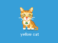 Pixeled little yellow cat
