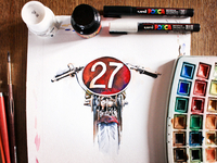 Watercolor Motorbike - WIP 3