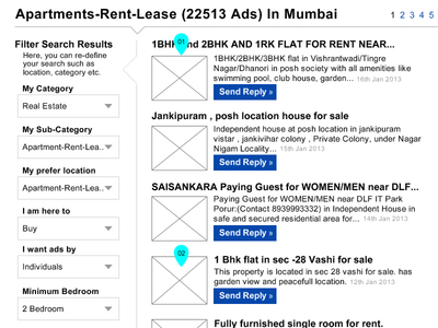 Quikr Website Wireframe