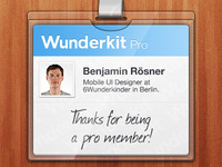 Wunderkit iPhone App - Pro Member Card