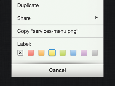iOS Services Menu