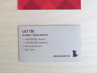 Back view of business card