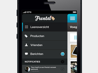 Frental app - side menu
