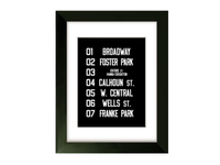 Framed Fort Wayne Trolley Roll Sign Prints