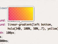 Mystery upcoming project UI detail: CSS gradient preview