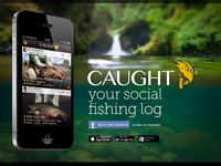 Caught - fishing log website landing page