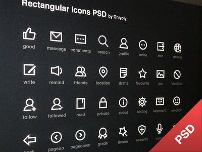 Download Rectangular Icons PSD