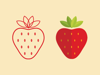 left vs right, strawberry illustrations