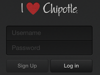 I Love Chipotle App - Login Screen