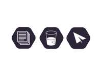 Icons for statuses of print, in progress & launched