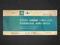 Turkish Airlines Old Passenger Ticket