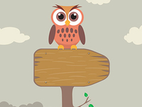 Owl on Direction Sign