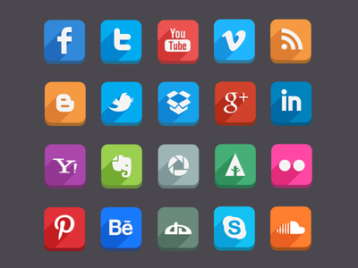 Download 45 Social Media Icons Free PSD