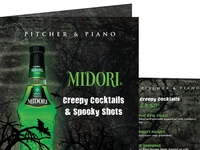 Cocktail menu for Midori / Pitcher & Piano