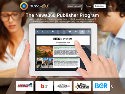 Publishers program promo page