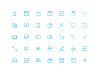 35 Thin Icons Set