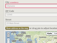 address form with error and map