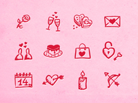 Hand-drawn St. Valentine's Day Icons