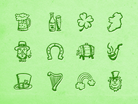 Hand-drawn St. Patrick's Day Icons
