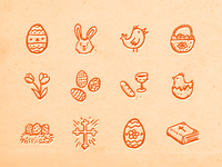 Hand-drawn Easter Icons