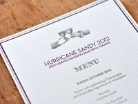 Commemorative Letterpress Printed Menu