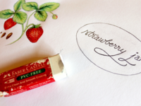 Jam Labels - Sketch phase - Strawberry