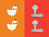Chicken VS Cobra Illustration