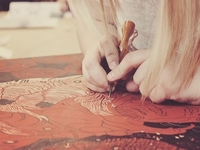 Carving away...