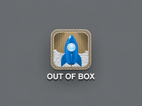 """OUT OF BOX"" iOS app icon"