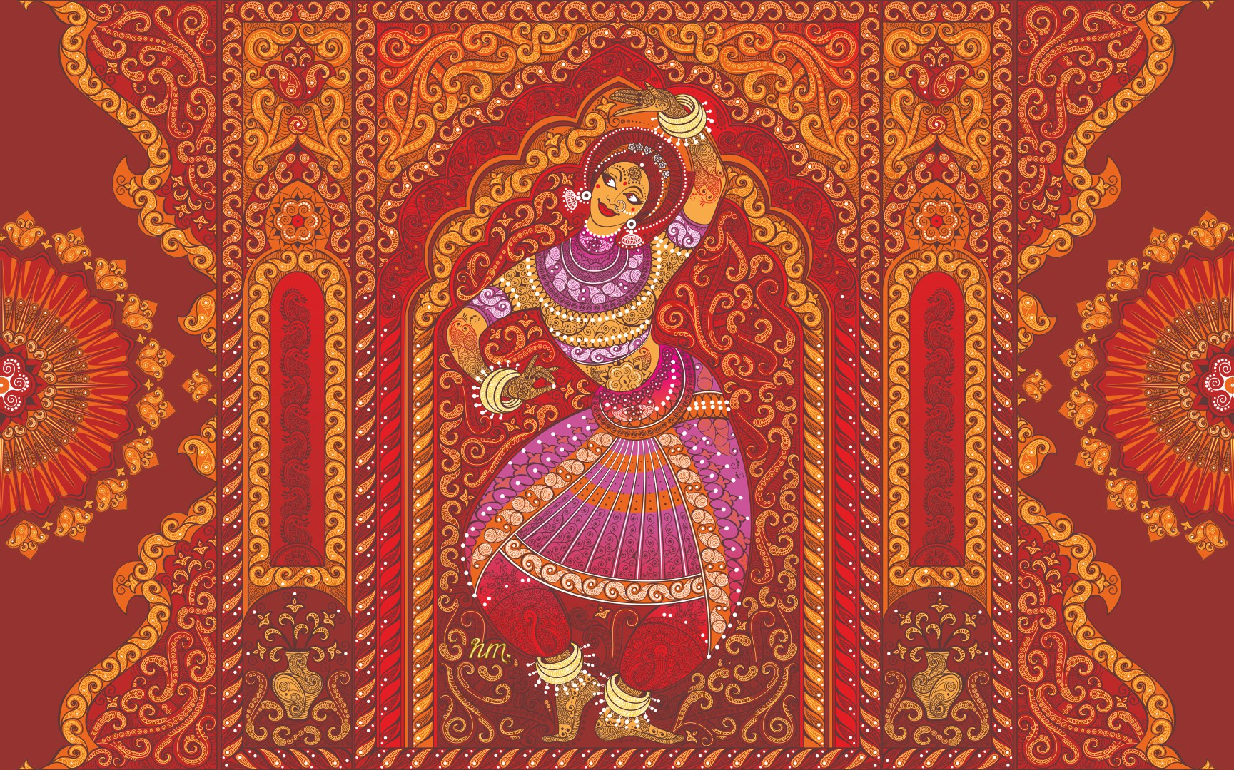Girl dancing, indian artstyle
