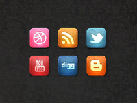 Leather Social Media Icon Set