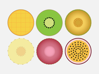 Flat Circle Fruit Icons