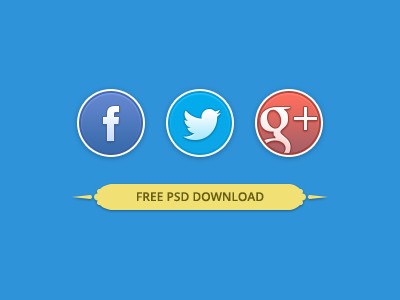 Download Rounded Social Buttons PSD