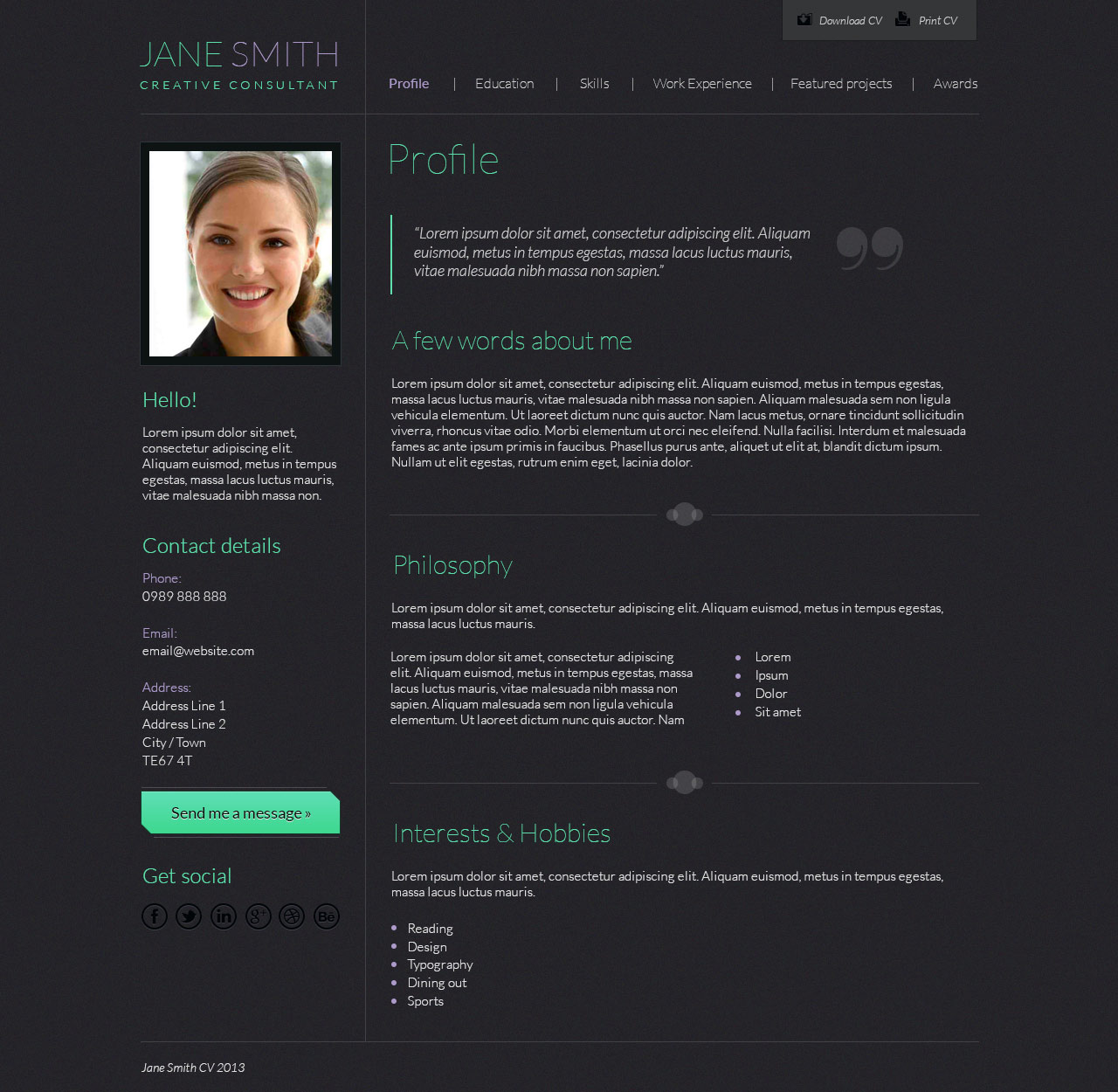 Cv Psd Template T Graphic And Web Design