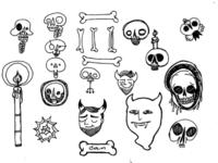 devils, skulls, bones and candles