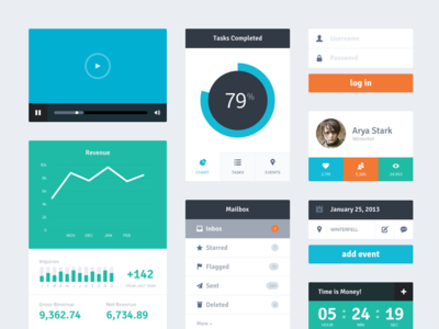 Download Freebie PSD: Flat UI Kit