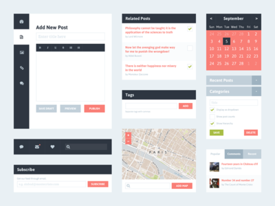 Download Freebie PSD: Flat UI Kit 2 (Blog)